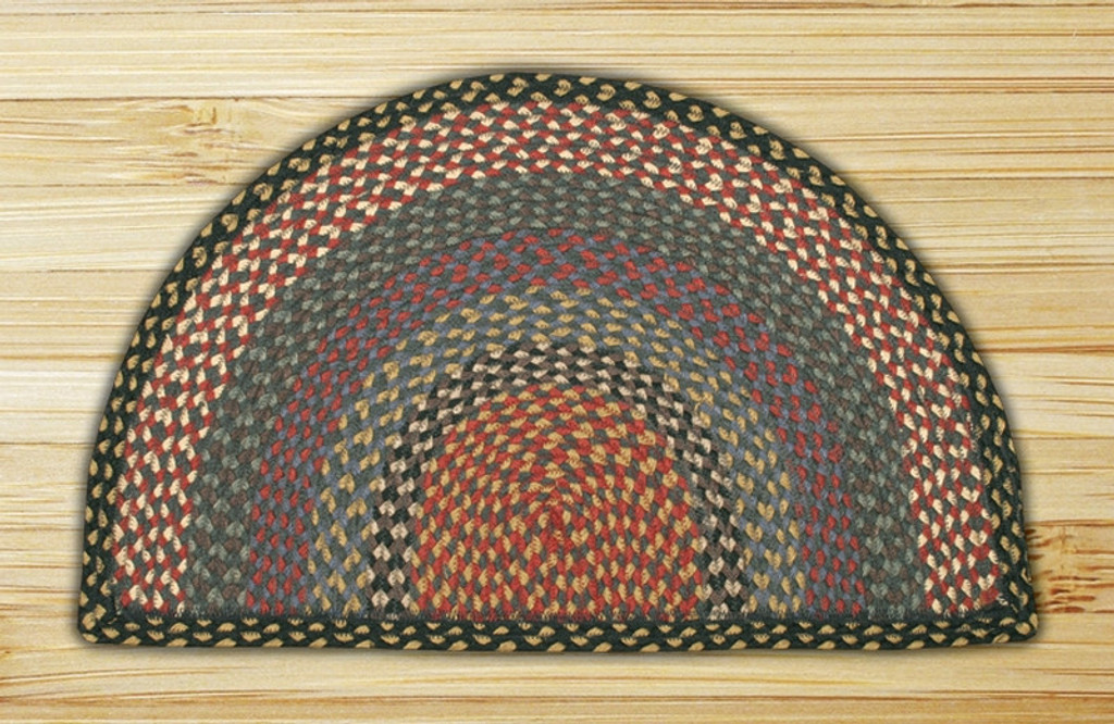 Earth Rugs™ Slice Braided Jute Rug Pictured In: Burgundy, Blue, & Gray