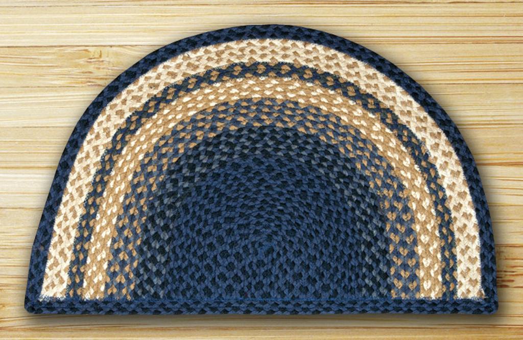 Earth Rugs™ Slice Braided Jute Rug Pictured In: Light & Dark Blue, & Mustard