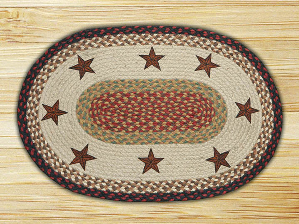 Earth Rugs™ Oval Patch Rug - Barn Stars - OP-019