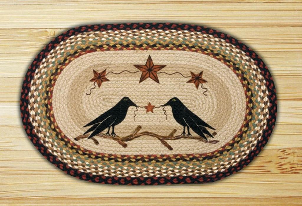 Earth Rugs™ Oval Patch Rug - Crow & Barn Stars - OP-019