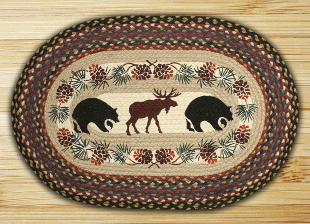 Earth Rugs™ Oval Patch Rug - Bear & Moose - OP-043