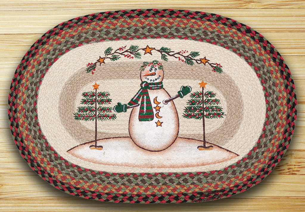 Earth Rugs™ Oval Patch Rug - Moon & Star Snowman - OP-081