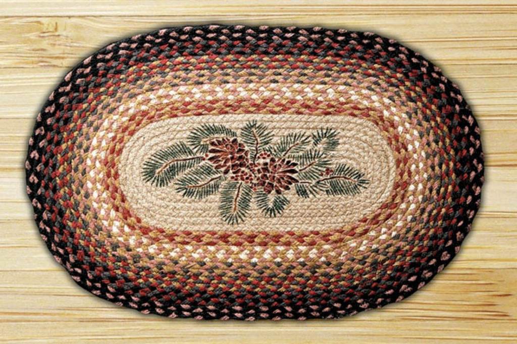Earth Rugs™ Oval Patch Rug - Pinecone & Red Berry - OP-083