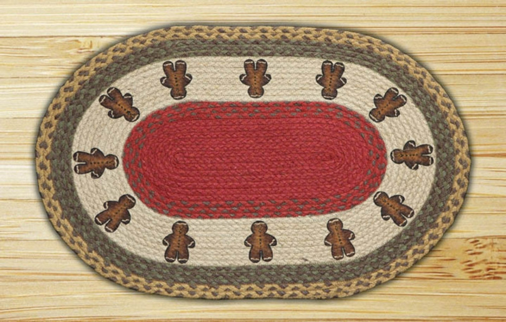 Earth Rugs™ Oval Patch Rug - Gingerbread Men - OP-111