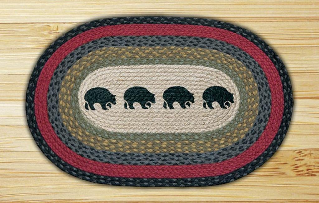 Earth Rugs™ Oval Patch Rug - Black Bears - OP-238