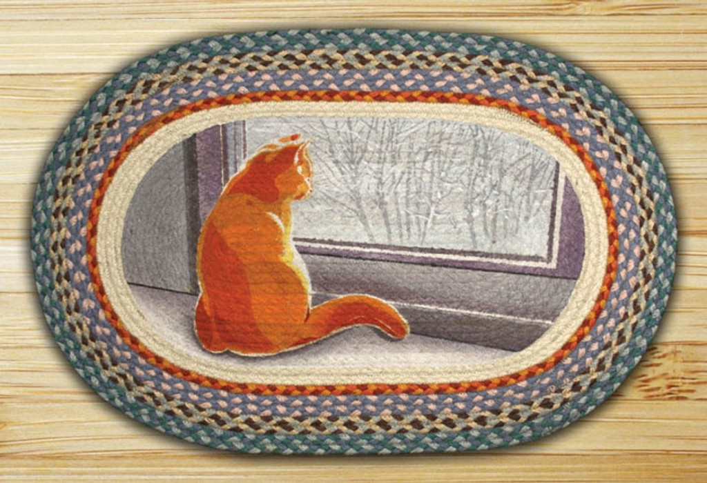 Earth Rugs™ Oval Patch Rug - Window Cat - OP-250
