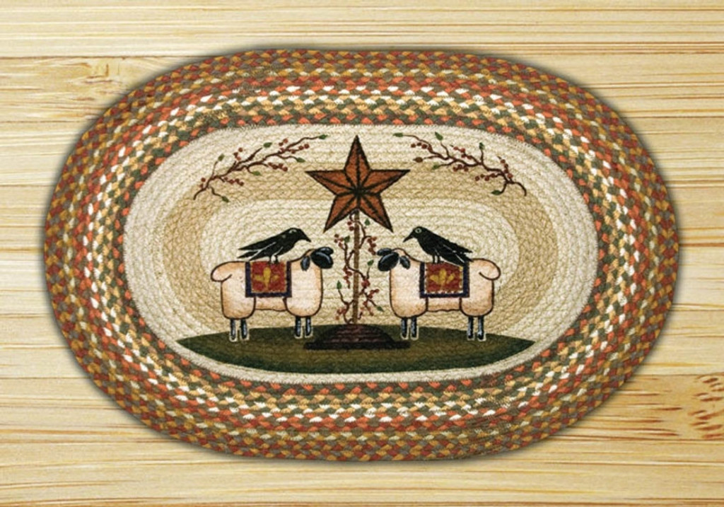 Earth Rugs™ Oval Patch Rug - Sheep & Barn Star - OP-300