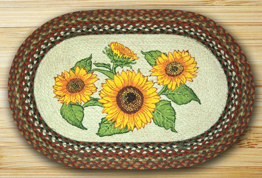 Earth Rugs™ Oval Patch Rug - Sunflowers - OP-300