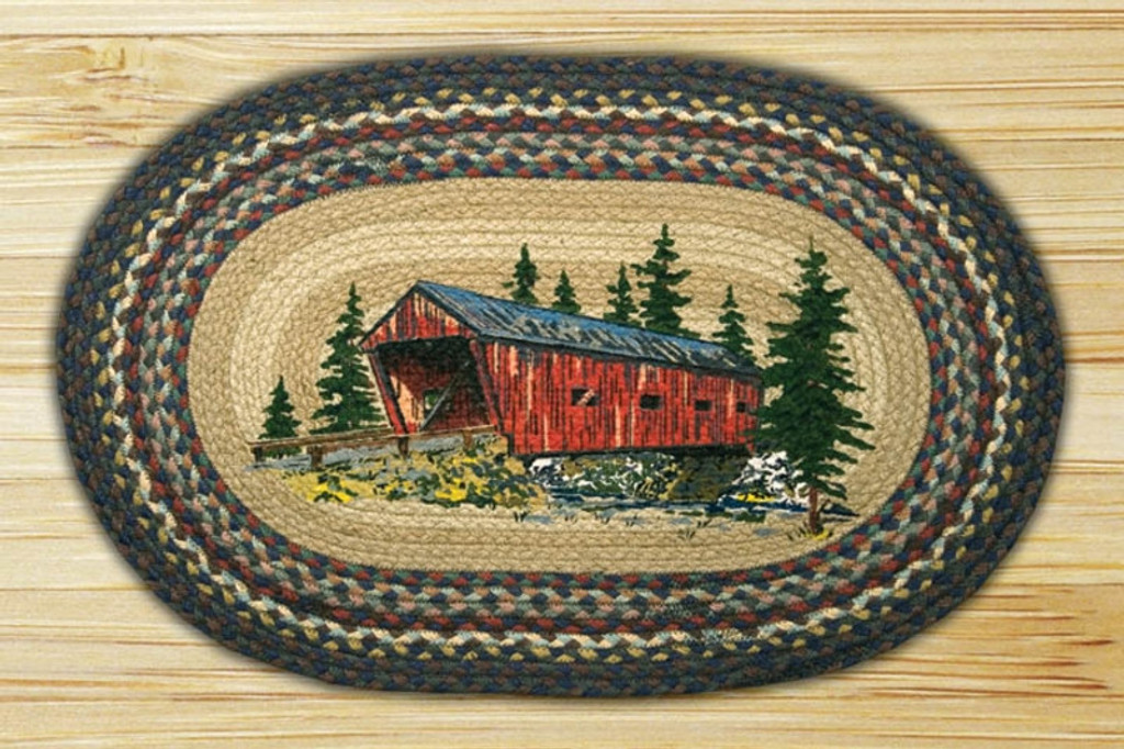 Earth Rugs™ Oval Patch Rug - Covered Bridge - OP-304