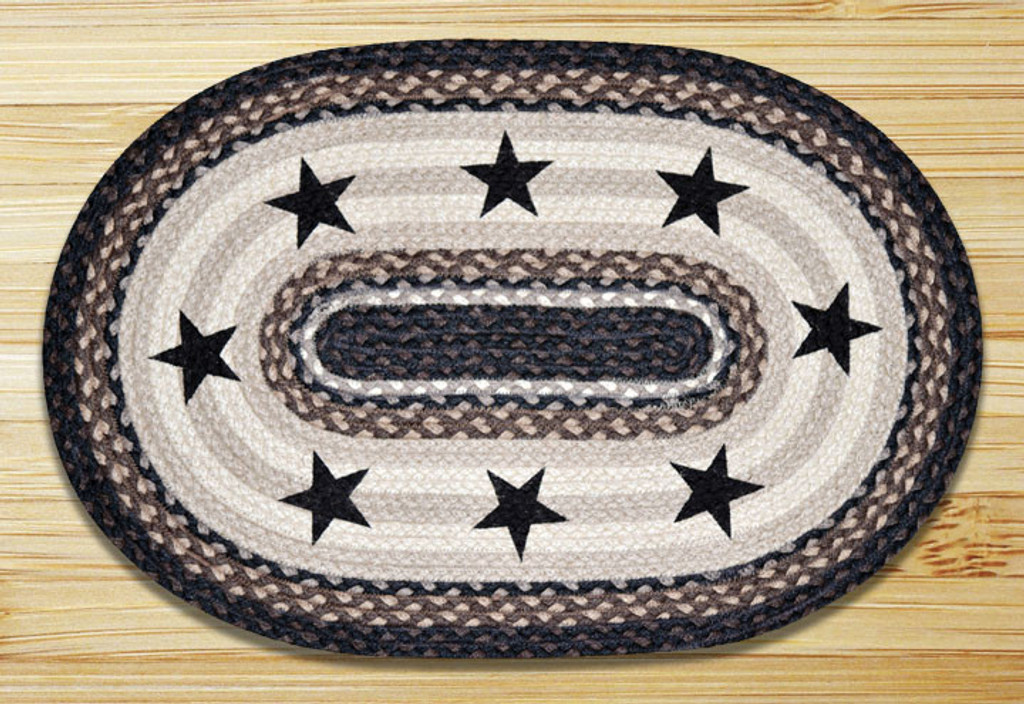 Earth Rugs™ Oval Patch Rug - Black Stars - OP-313