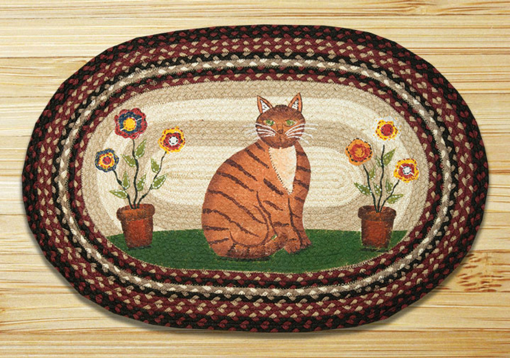Earth Rugs™ Oval Patch Rug - Folk Art Cat - OP-344