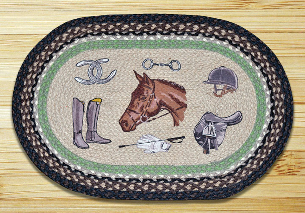 Earth Rugs™ Oval Patch Rug - Equestrian - OP-383
