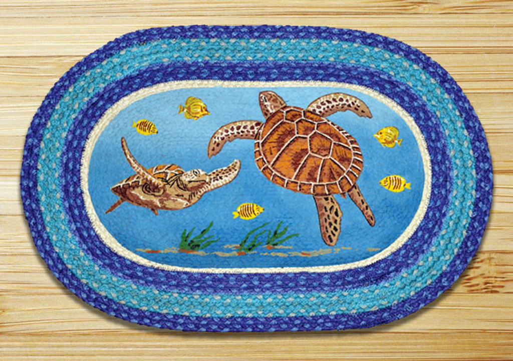 Earth Rugs™ Oval Patch Rug - Sea Turtles - OP-384