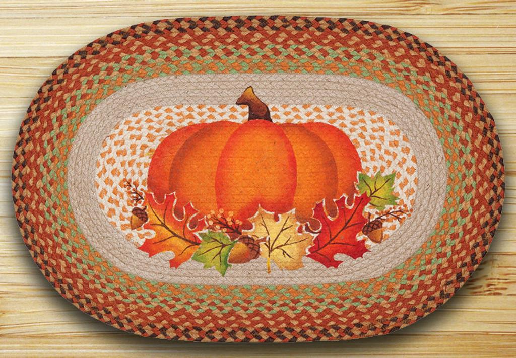 Earth Rugs™ Oval Patch Rug - Pumpkin Leaf - OP-438