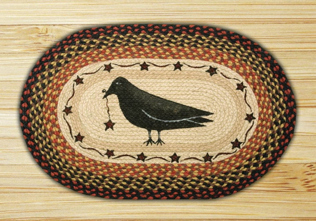 Earth Rugs™ Oval Patch Rug - Crow & Star - OP-919