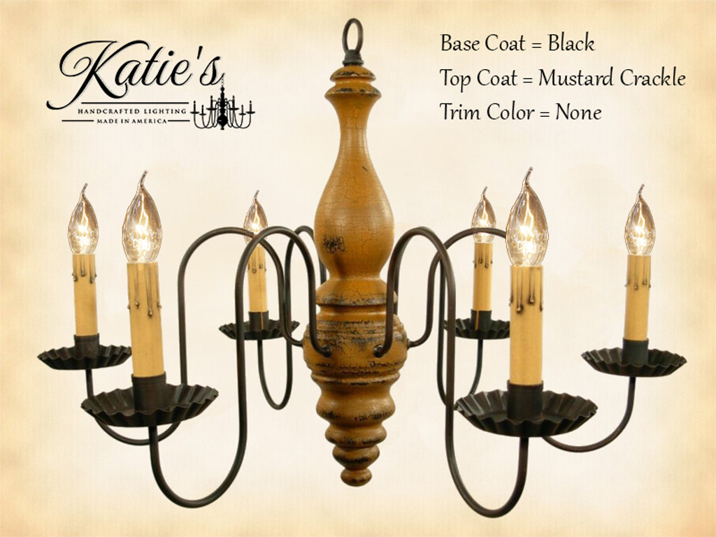 Katie's Handcrafted Lighting Anderson House Wood Chandelier Pictured In: Base Coat Color = Black, Top Coat Color = Mustard Crackle, Trim Color = None