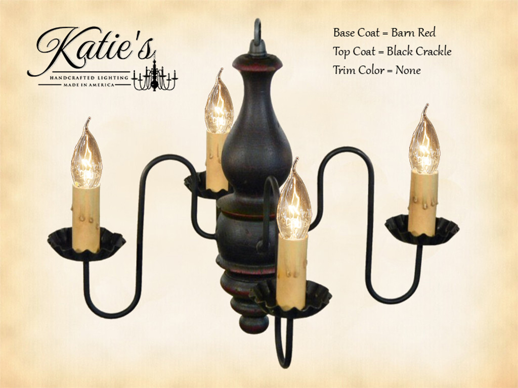 Katie's Handcrafted Lighting Abigail Wood Chandelier Pictured In: Base Coat Color = Barn Red, Top Coat Color = Black Crackle, Trim Color = None