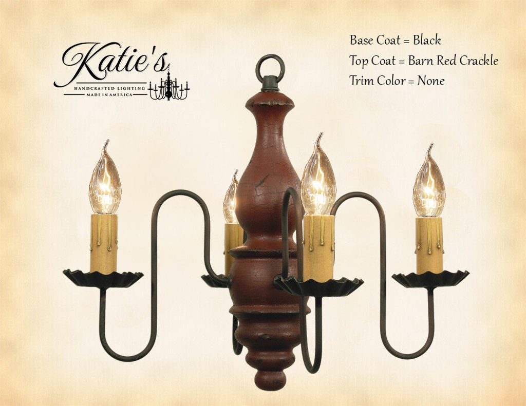 Katie's Handcrafted Lighting Abigail Wood Chandelier Pictured In: Base Coat Color = Black, Top Coat Color = Barn Red Crackle, Trim Color = None
