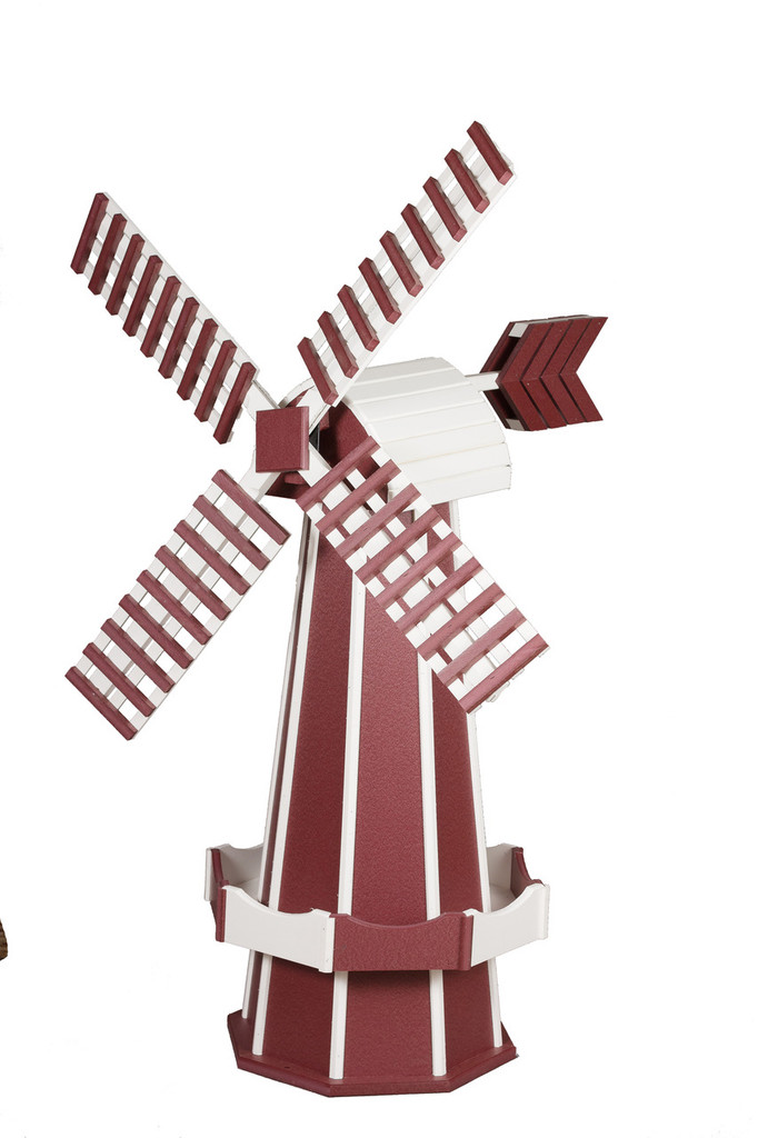 Amish Crafted Poly Windmill Medium Finished In Primary Color: Cherry Wood, Accent/Trim Color: White