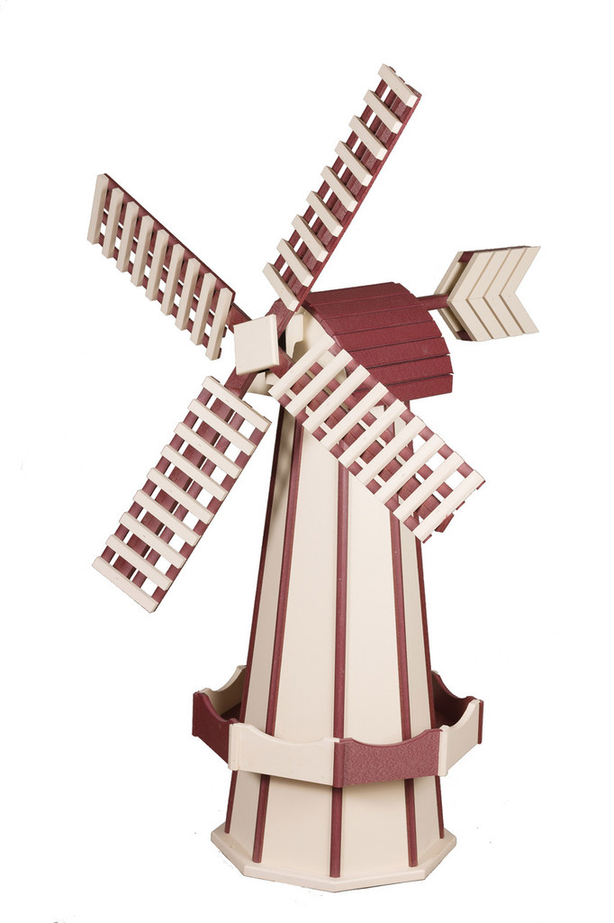 Amish Crafted Poly Windmill Medium Finished In Primary Color: Ivory, Accent/Trim Color: Cherry Wood