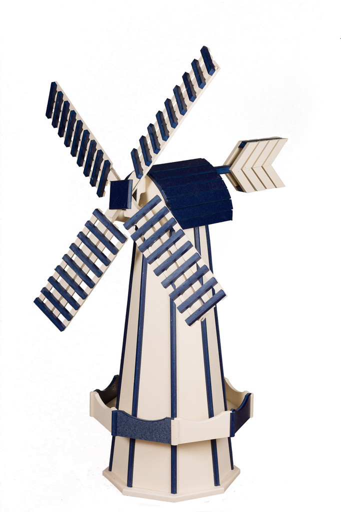 Amish Crafted Poly Windmill Medium Finished In Primary Color: Ivory, Accent/Trim Color: Patriotic Blue