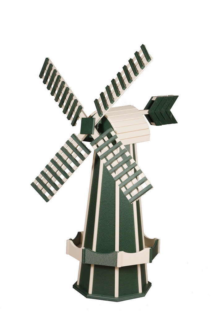Amish Crafted Poly Windmill Medium Finished In Primary Color: Green, Accent/Trim Color: Ivory