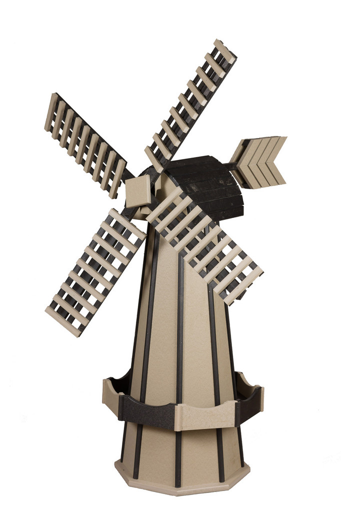 Amish Crafted Poly Windmill, Finished In Primary Color: Clay, Accent/Trim Color: Black