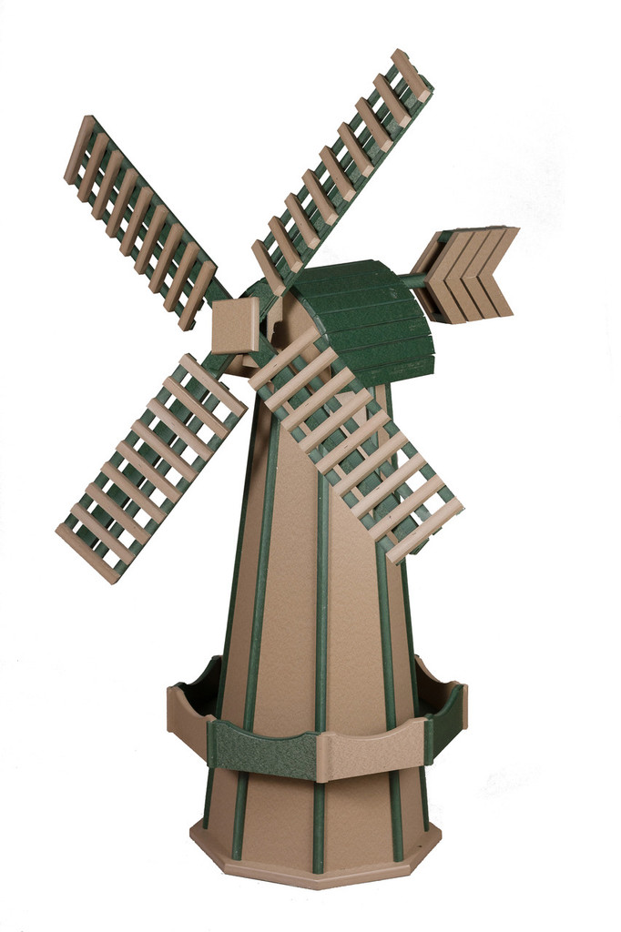 Amish Crafted Poly Windmill, Finished In Primary Color: Weatherwood, Accent/Trim Color: Green