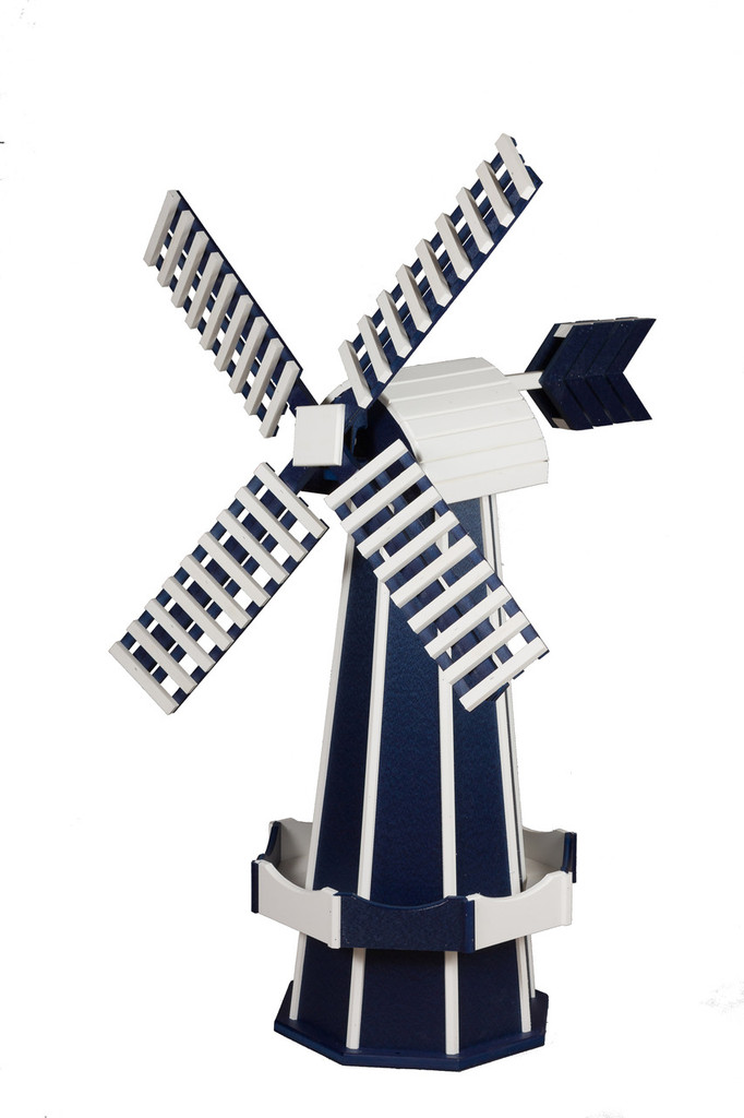 Amish Crafted Poly Windmill, Finished In Primary Color: Patriotic Blue, Accent/Trim Color: White