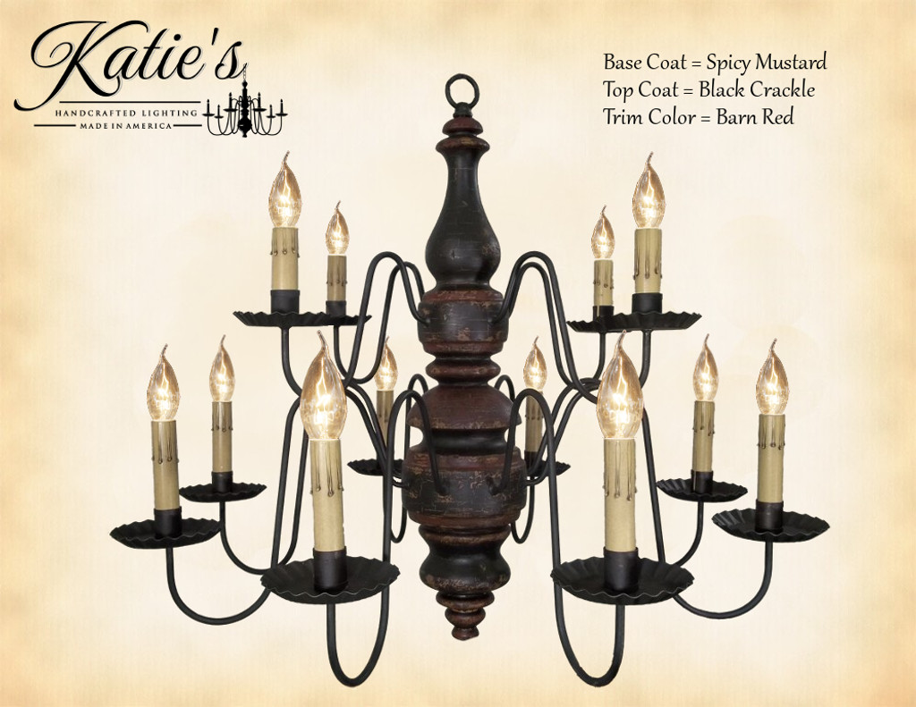 Katie's Handcrafted Lighting Charleston Wood Chandelier Pictured In: Base Coat Color = Spicy Mustard, Top Coat Color = Black Crackle, Trim Color = Barn Red