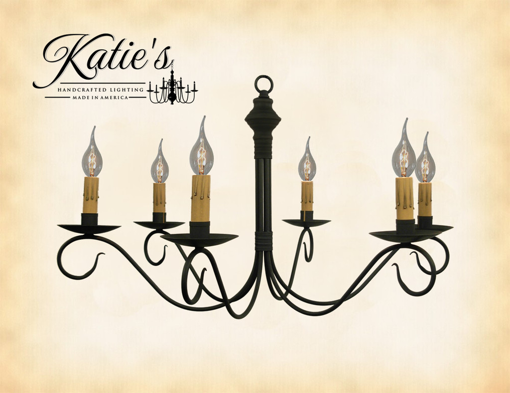 Katie's Handcrafted Lighting Adams Chandelier Finished In Aged Black Finish
