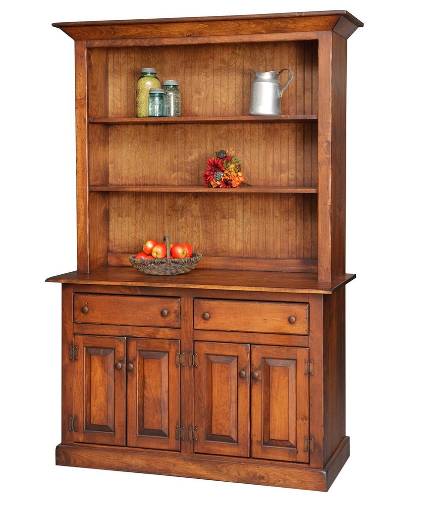 Amish Handcrafted 4' Homestead Hutch by Vintage Creations By Sam - Finished In Antique Finish With Heritage Stain