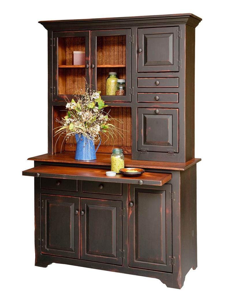 Amish Handcrafted Large Hoosier Hutch by Vintage Creations By Sam - Finished In Antique 2-Tone Black With Heritage Stain