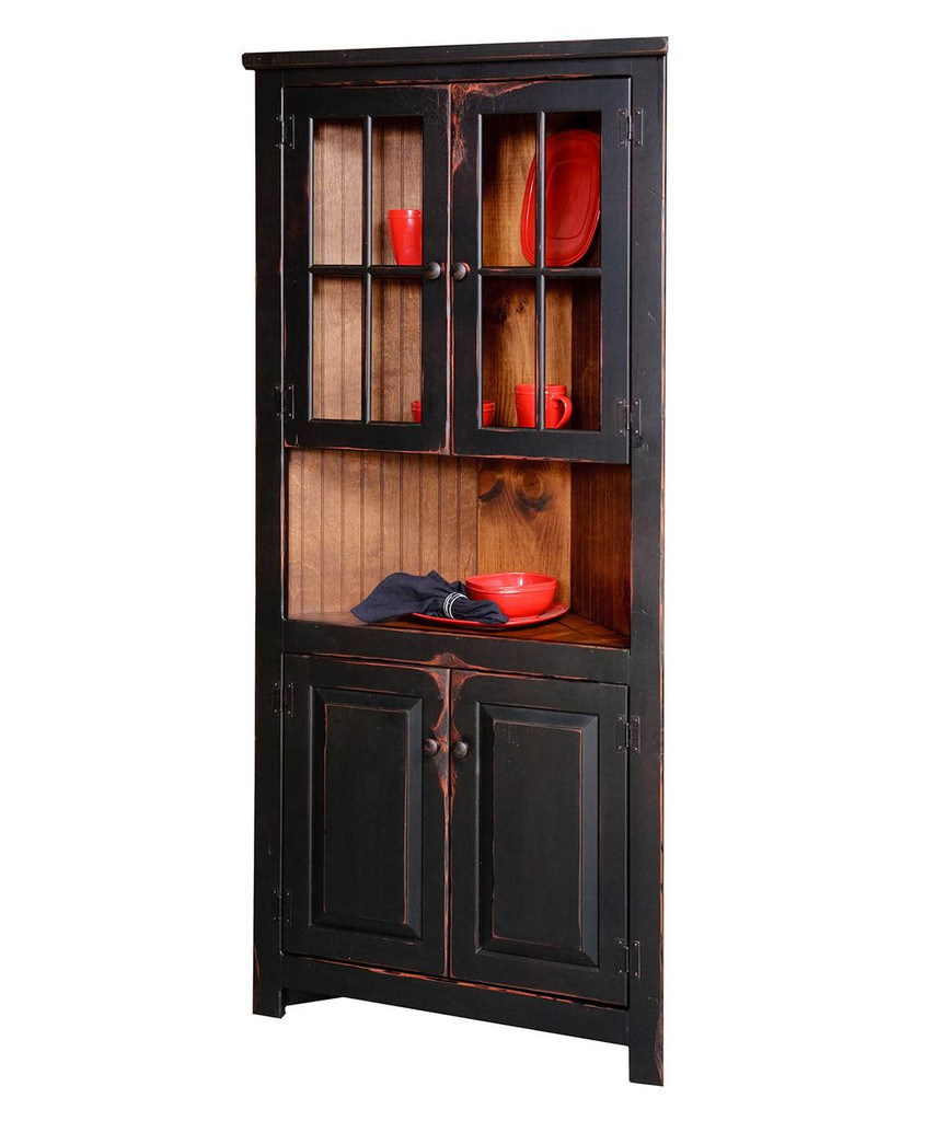 """Amish Handcrafted 32"""" Corner Cupboard With Glass by Vintage Creations By Sam - Finished In Antique 2-Tone Finish Black With Heritage Stain"""