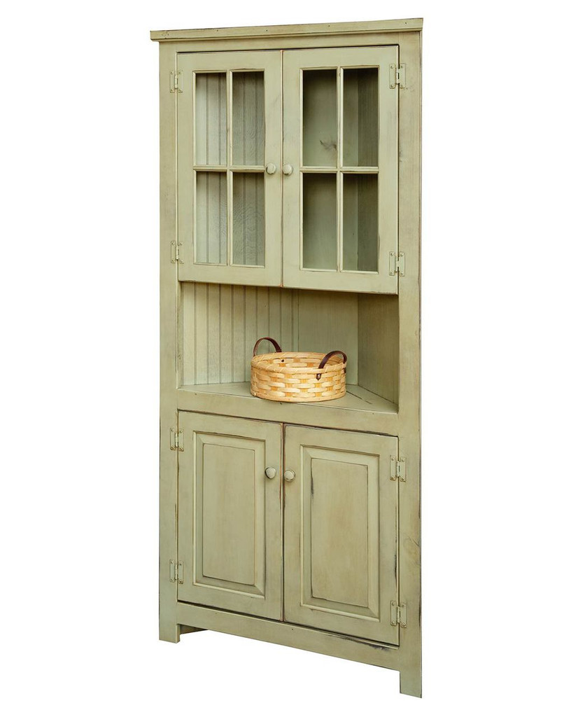 """Amish Handcrafted 32"""" Corner Cupboard With Glass by Vintage Creations By Sam - Finished In Distressed Finish With Sage"""