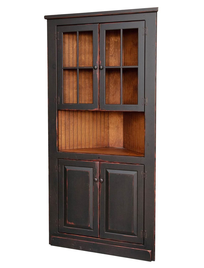 "Amish Handcrafted 40"" Corner Cupboard With Glass by Vintage Creations By Sam - Finished In Antique 2-Tone Finish Black With Heritage Stain"