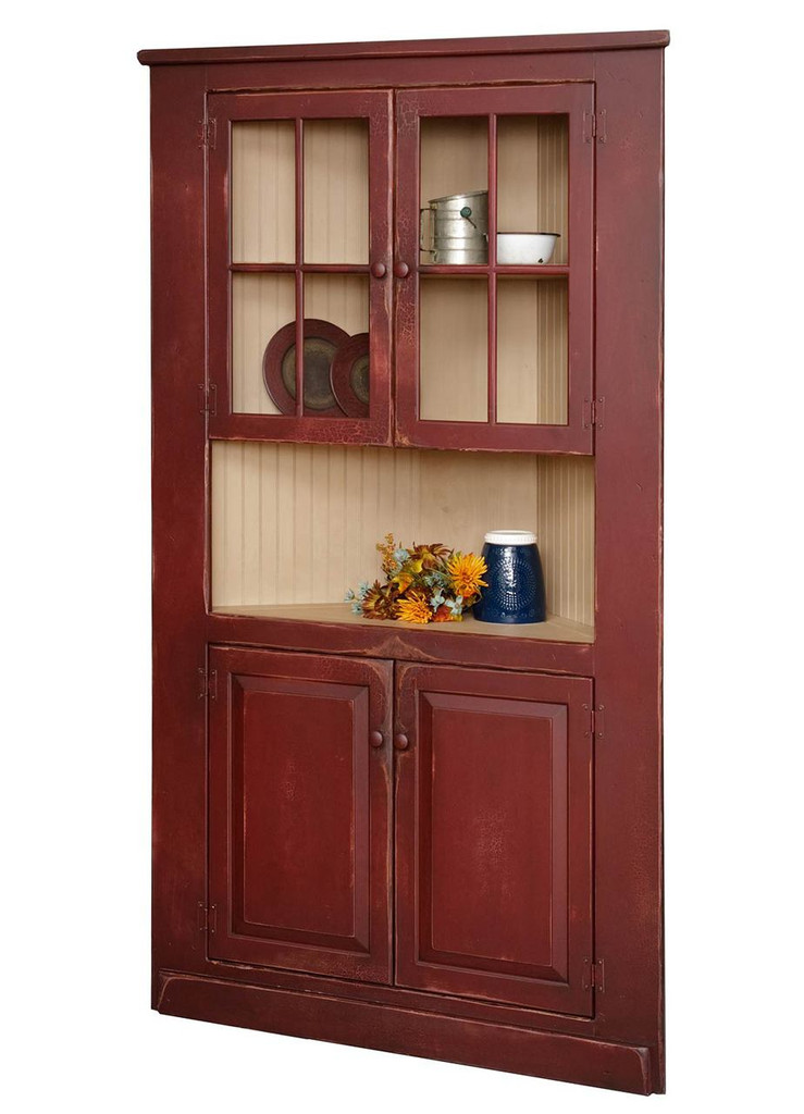 """Amish Handcrafted 40"""" Corner Cupboard With Glass by Vintage Creations By Sam - Finished In A CUSTOM Finish"""