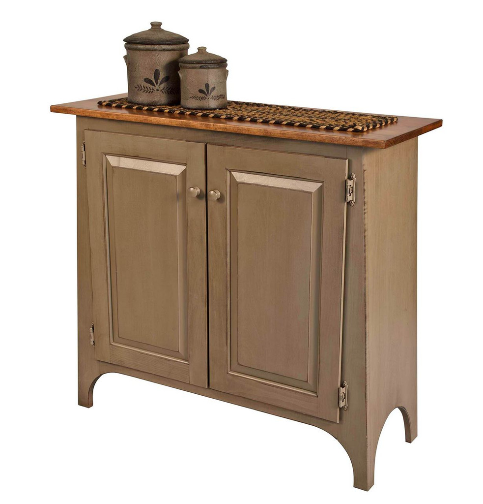 Amish Handcrafted Slant Cupboard by Vintage Creations By Sam - Finished In Distressed 2-Tone Finish, Slate Green With Heritage Stain