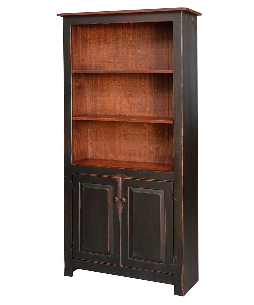 Amish Handcrafted 6 Foot Bookcase With Bottom Doors by Vintage Creations By Sam - Finished In Antique 2-Tone Finish, Black With Special Cherry Stain