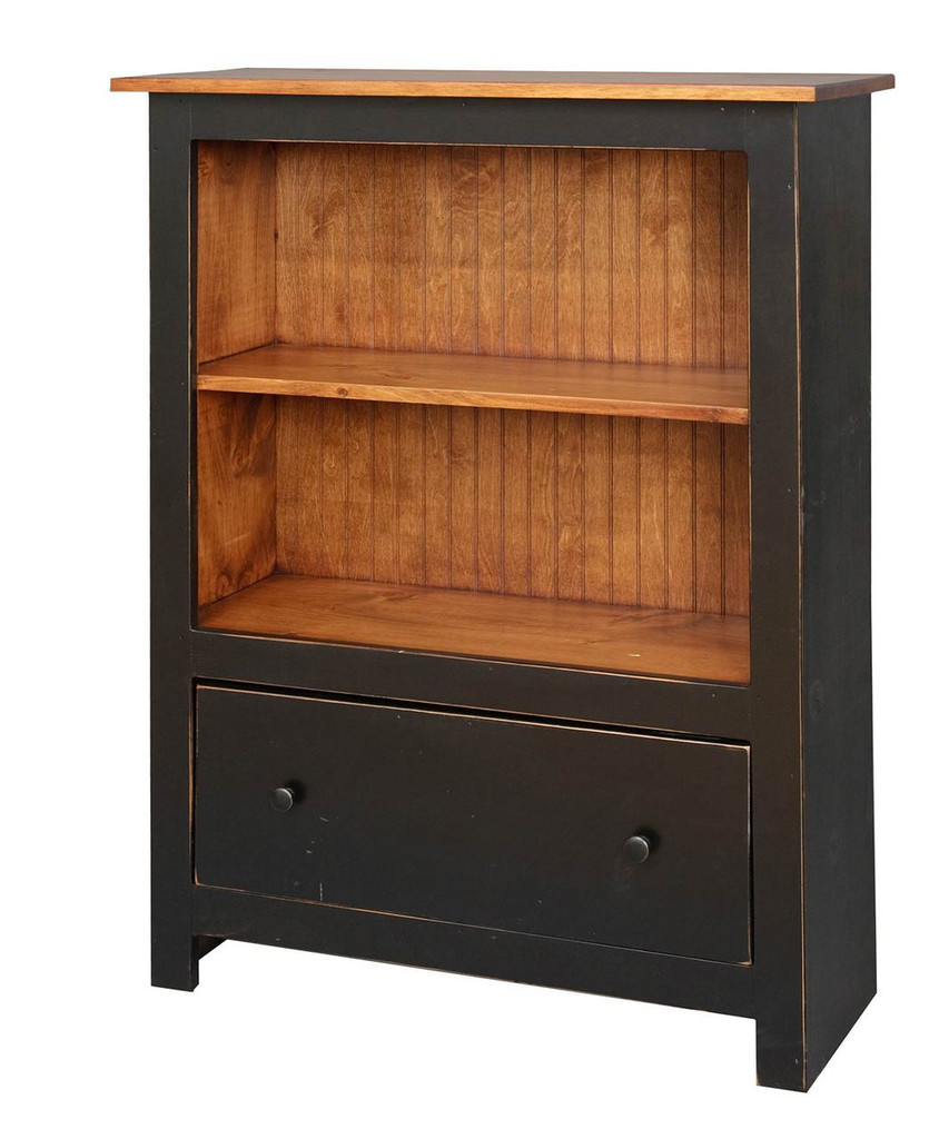 Amish Handcrafted 4 Foot Bookcase With 1 Drawer by Vintage Creations By Sam - Finished In Distressed 2-Tone Finish, Black With Heritage Stain