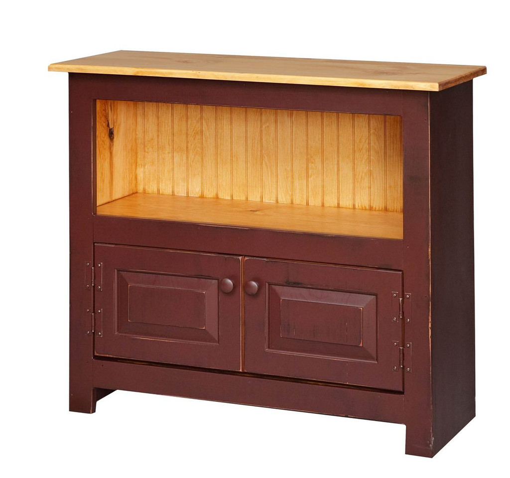 Amish Handcrafted Catch All by Vintage Creations By Sam - Finished In Distressed 2-Tone Finish, Barn Red With Honey Pine Stain