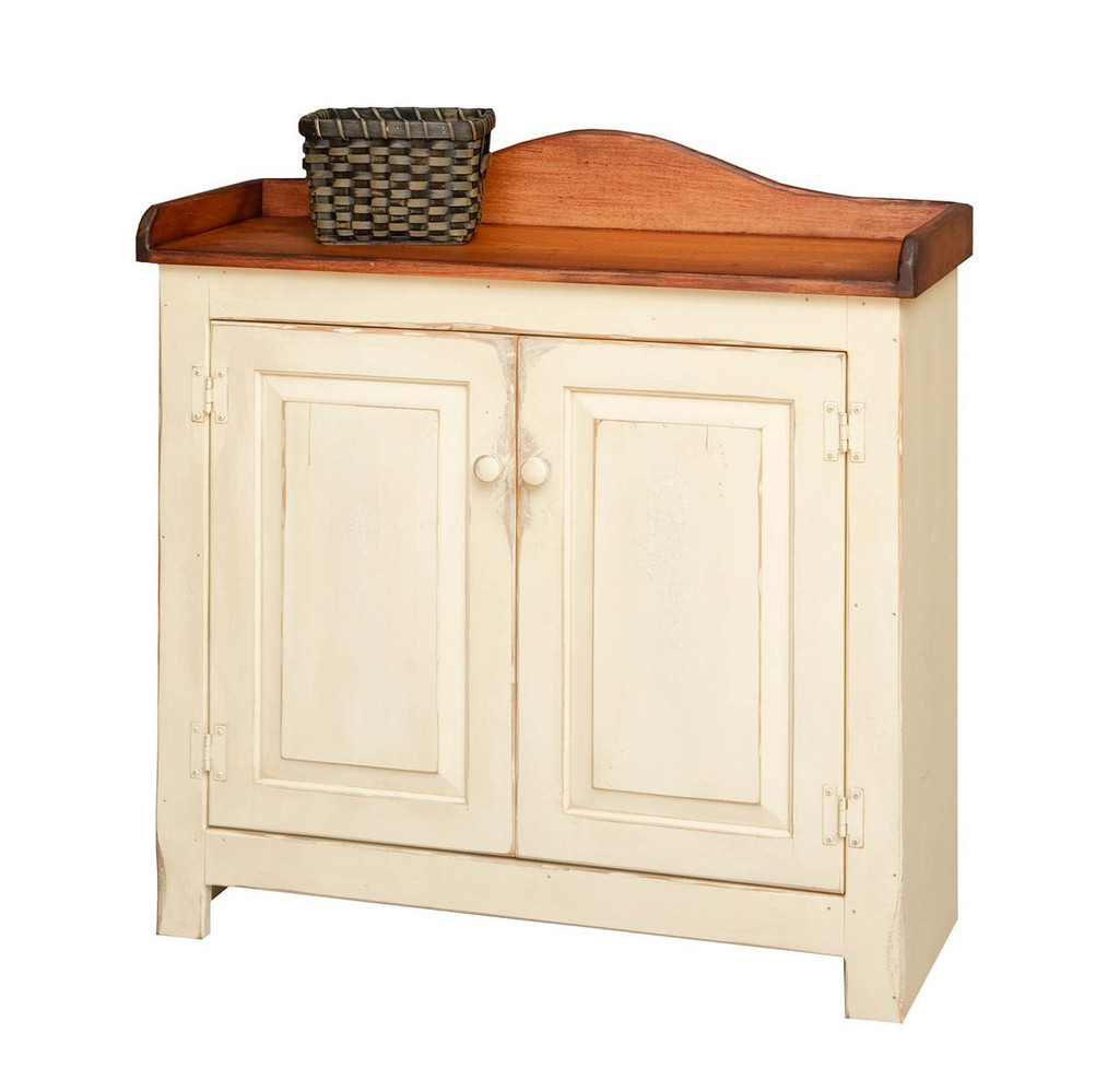 Amish Handcrafted Medium Dry Sink by Vintage Creations By Sam - Finished In Antique 2-Tone Finish, Cream White With Heritage Stain (Cream White No Longer Available In Antique Finish)