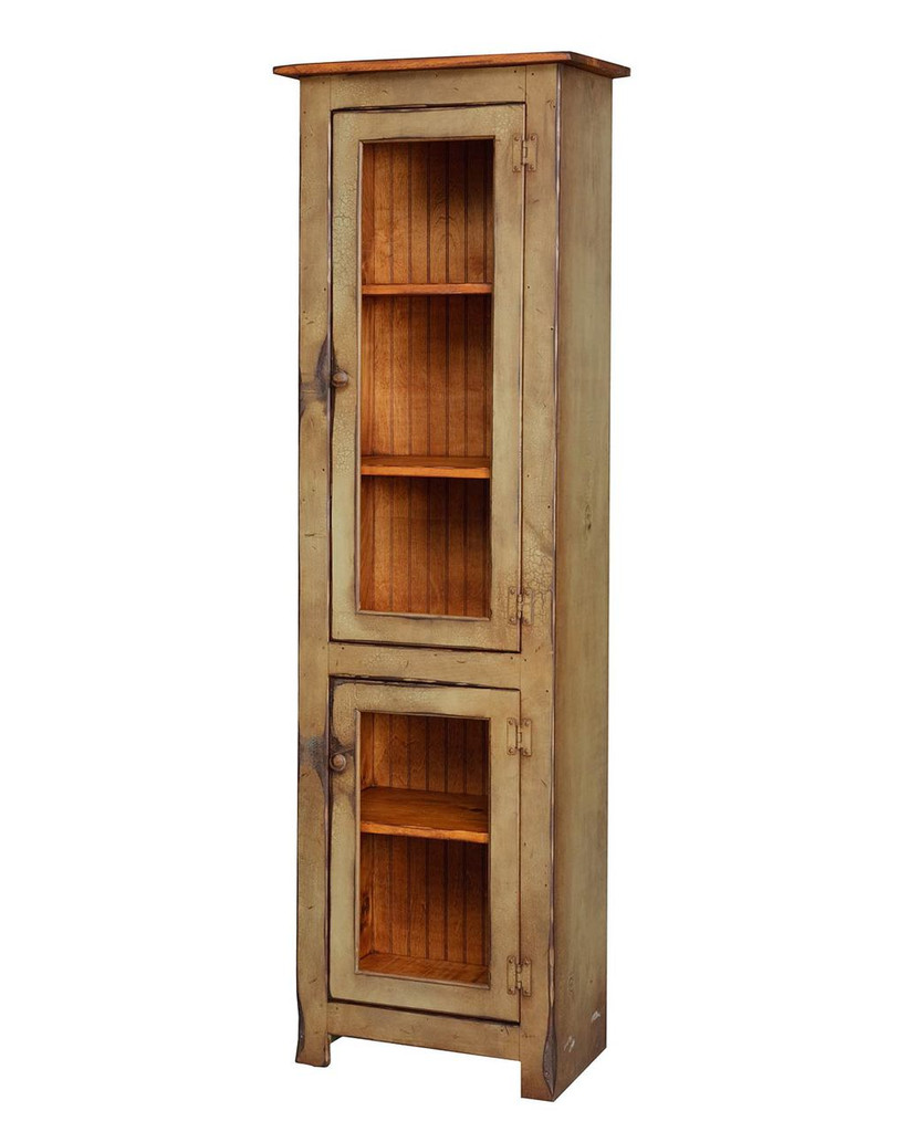 Amish Handcrafted Small Curio Cabinet by Vintage Creations By Sam - Finished In Antique 2-Tone Finish, Sage With Heritage Stain