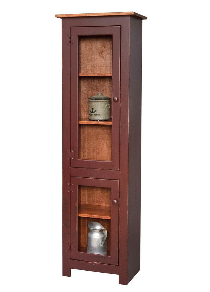 Amish Handcrafted Small Curio Cabinet by Vintage Creations By Sam - Finished In Distressed 2-Tone Finish, Barn Red With Heritage Stain
