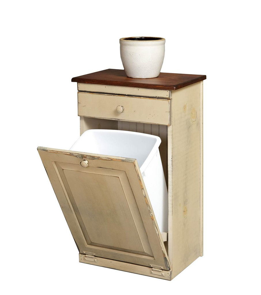 Amish Handcrafted Trash Bin by Vintage Creations By Sam - Finished In Antique 2-Tone Finish, Cream White With Heritage Stain (Cream White No Longer Available In Antique Finish)