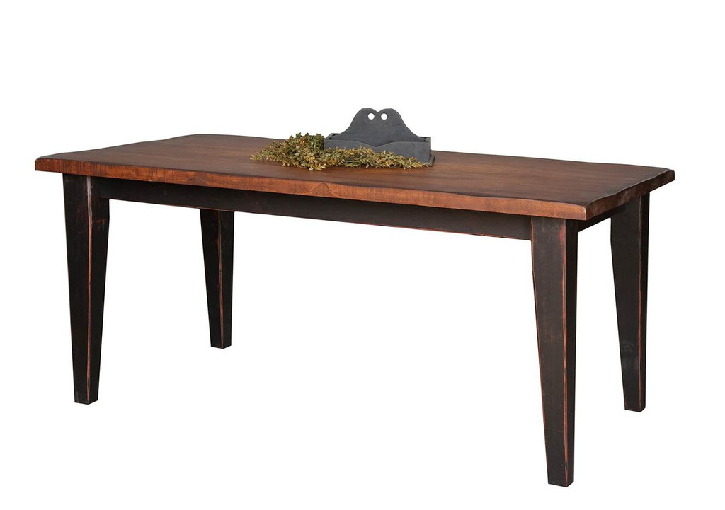 "Amish Handcrafted 8 Foot Harvest Table With 4"" Shaker Legs by Vintage Creations By Sam - Finished In Antique 2-Tone Finish, Black With Heritage Stain"