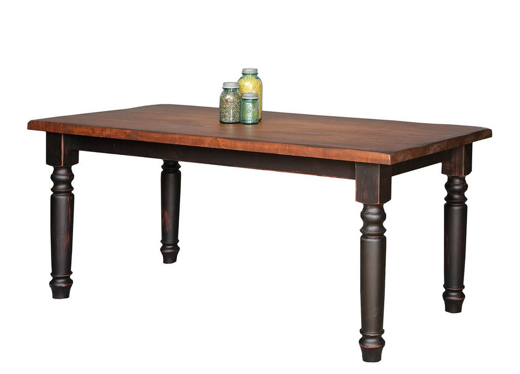 "Amish Handcrafted 8 Foot Harvest Table With 4"" Round Turned Legs by Vintage Creations By Sam - Finished In Antique 2-Tone Finish, Black With Heritage Stain"