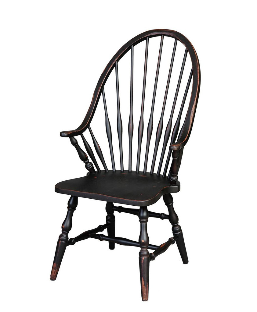 Amish Handcrafted Windsor Arm Chair By Vintage Creations By Sam   Finished  In Antique Finish,