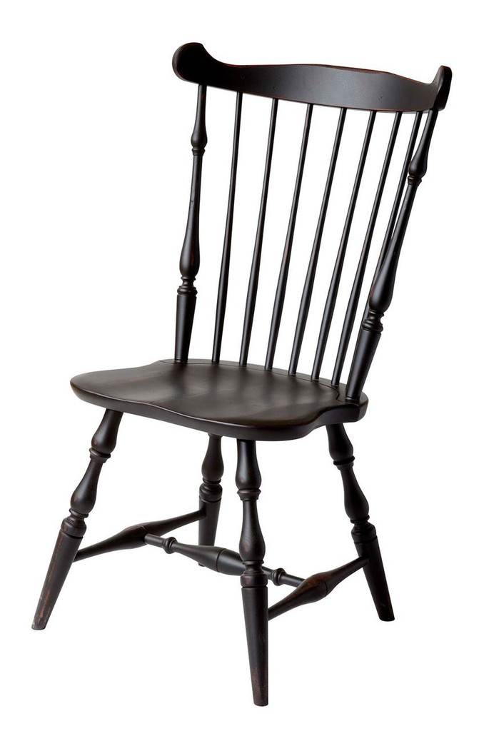 Amish Handcrafted Royal Windsor Side Chair by Vintage Creations By Sam - Finished In Antique Finish, Black