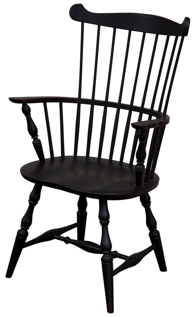 Amish Handcrafted Royal Windsor Arm Chair by Vintage Creations By Sam - Finished In Antique Finish, Black